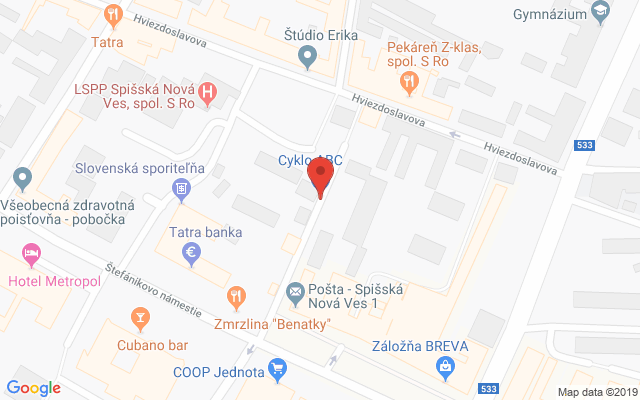 Google map: Cyklo ABC s.r.o., Ing.Straku 1232/5
